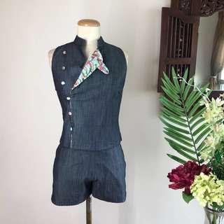 🚚 Cheongsam - Biker Inspired Denim Cheongsam Set (Top and Shorts)