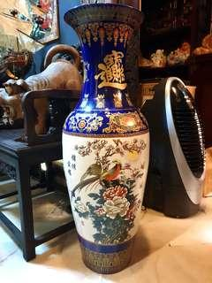 Vintage big tall floor chinese porcelain vase