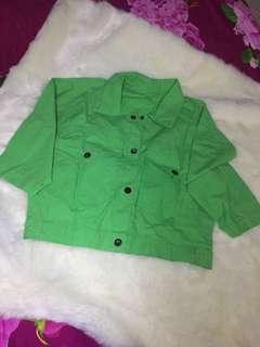 #CNY2019 Jacket crooped green Satin