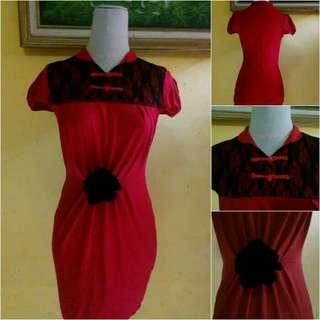 #CNY2019 Dress gaun wanita merah imlek