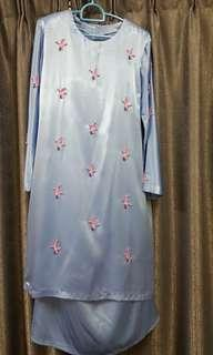 Baby Blue Modern Kurung with Beads