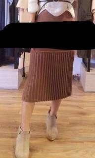 韓國啡色針織中長裙 Korea knitted brown dress