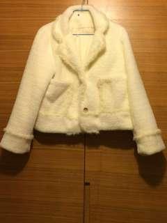 韓國米白色毛毛外套 Korea White Fur Coat