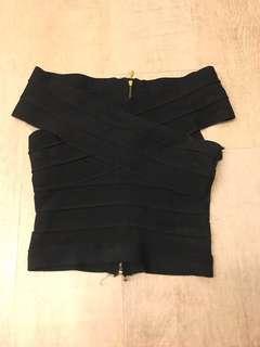 Black bandage crop top
