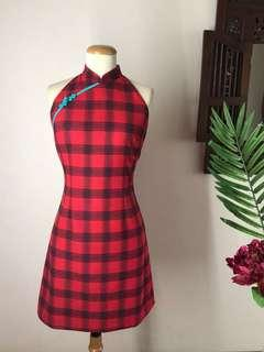 🚚 Cheongsam -  Classic Red Plaid Print A-line Cheongsam