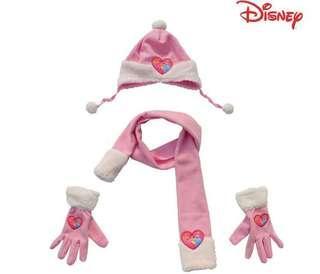 New CUTE Disney Princess Girls/Kids Scarf, Cap/Hat & Gloves Sets PINK 女童公主頸巾 帽 手套 1套3件 粉紅色