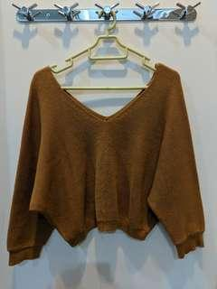 Brown knit Crop Top
