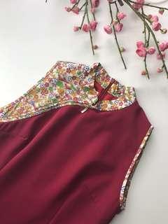 🚚 Cheongsam - Red Cheongsam With Colorful Sakura Detail