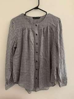 Zara Plaid Blouse