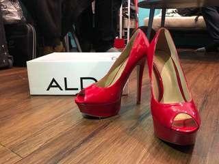 ALDO高跟鞋 (紅色 銀色)