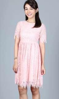 🚚 Hollyhoque Dora Lace Fringe Dress in Dust Pink