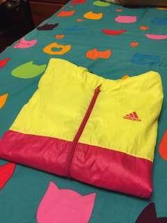 🚚 Adidas拼接風衣外套 螢光粉