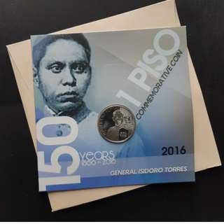 1 Piso Isidro Torres 150th Birth Anniversary commemorative coin in blister pack