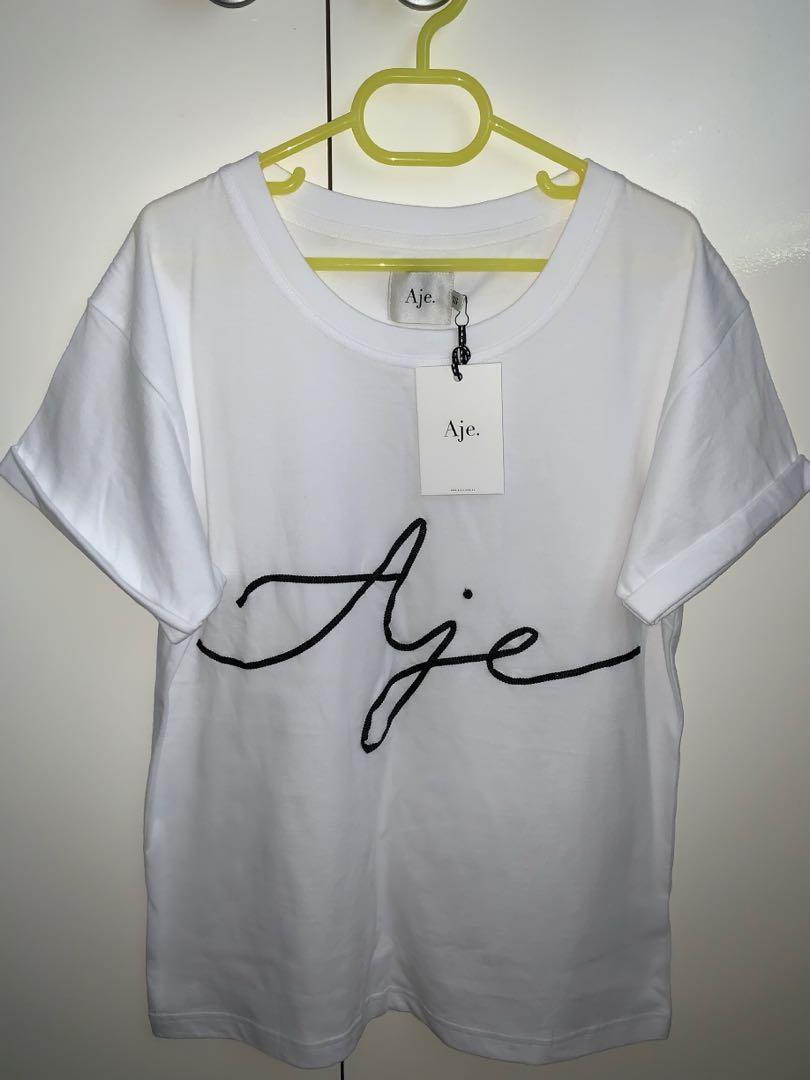 Aje brand new with tags size xs white ribbon logo t-shirt