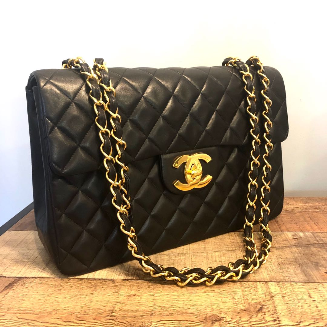 f54072ead89a Authentic Chanel Vintage Jumbo Maxi Lambskin Bag w 24k Gold Hardware ...