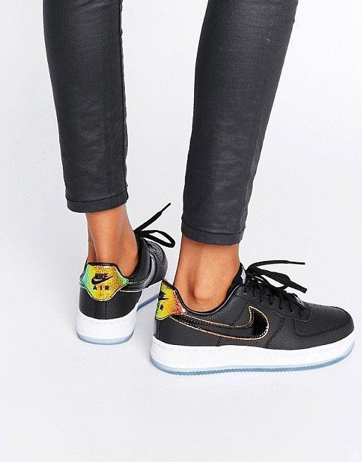 164face9b60 Authentic Nike Limited Edition Air Force 1 Black Leather Iridescent ...
