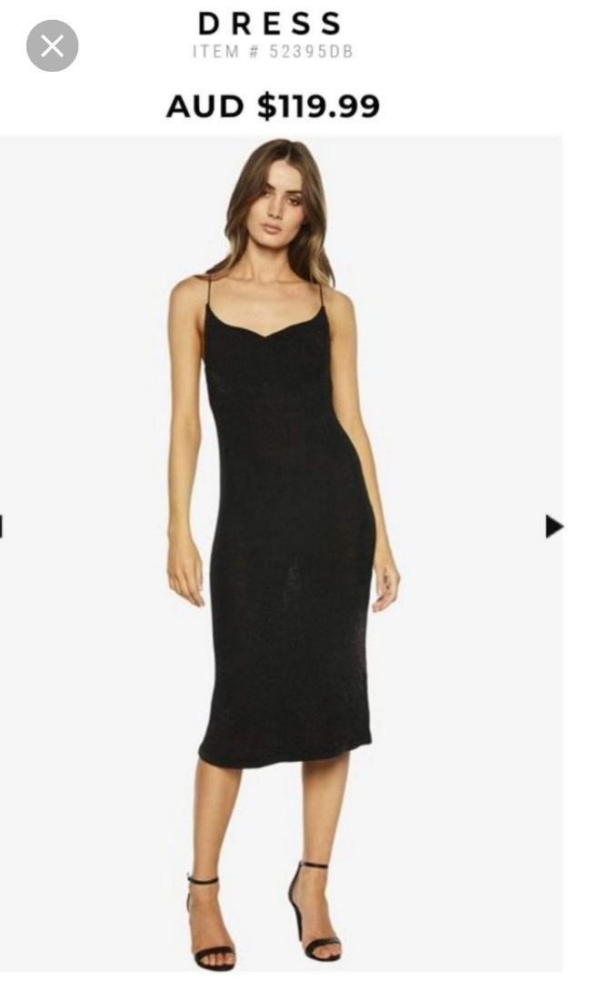Bardot black sparkly midi skimpy spaghetti strap dress