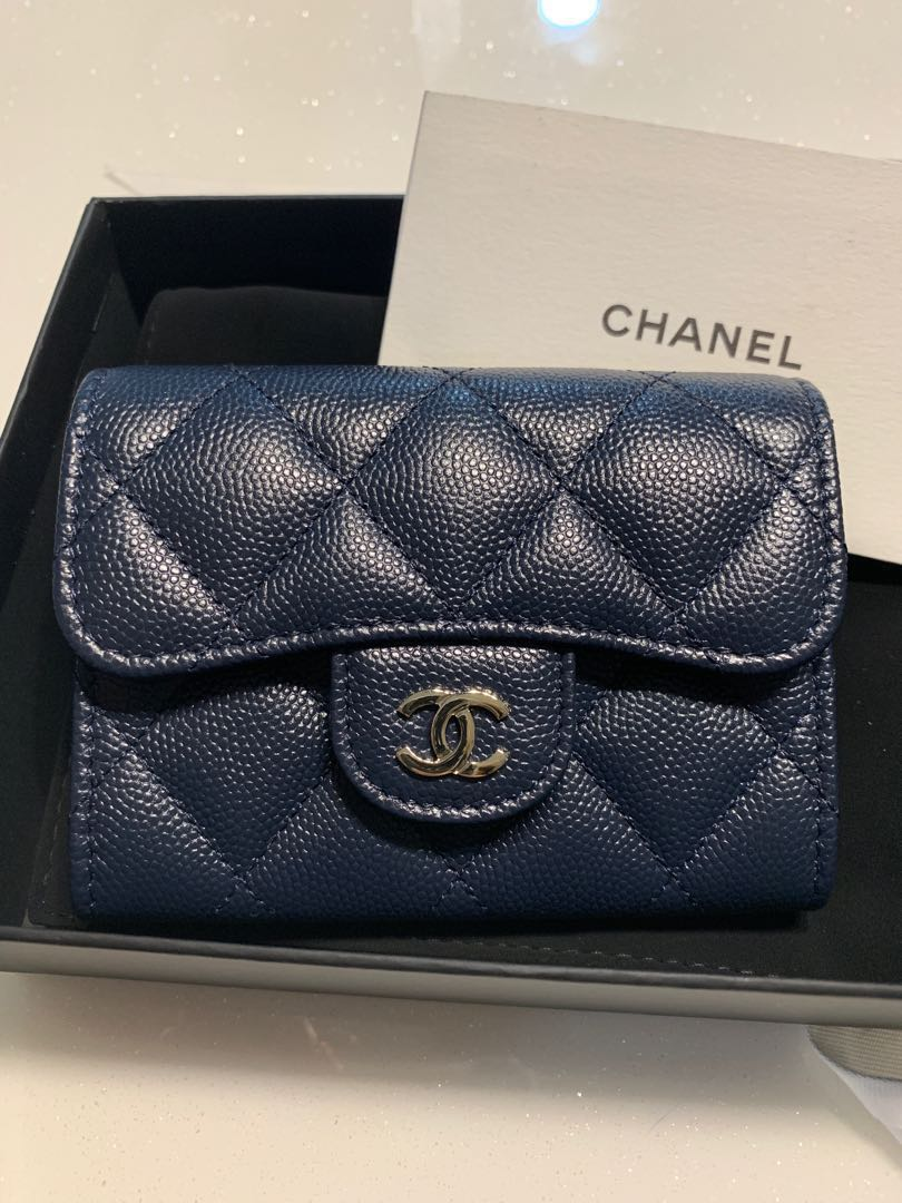 237e09490ae1 Chanel Classic Quilted Card Holder XL in Navy with Mona Lisa Back ...