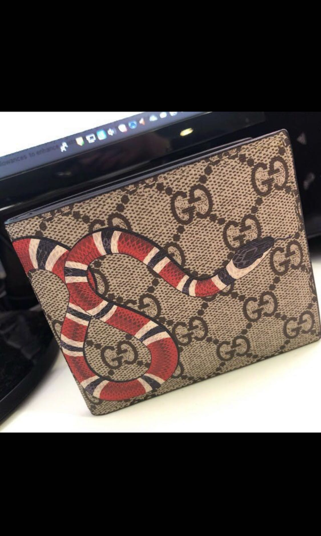 02c18f979ff2 Gucci Kingsnake print supreme GG, Men's Fashion, Bags & Wallets ...