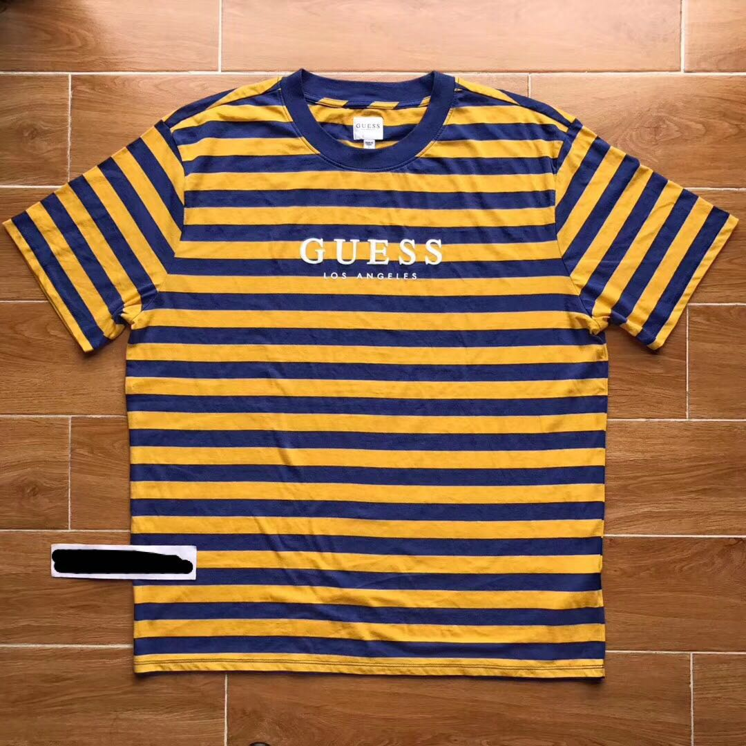 3754520b Guess FW18 Los Angeles Palm Striped Tee, Men's Fashion, Clothes ...