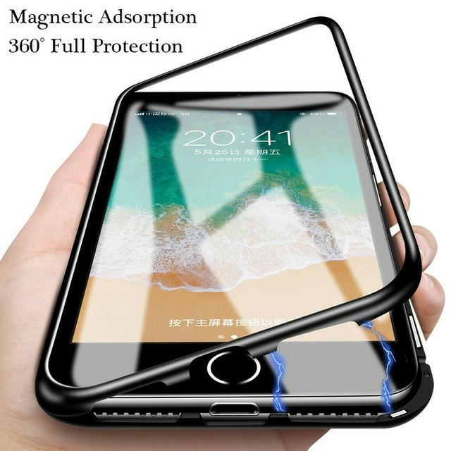 Hardcase Magnetic 360 for Iphone X Case Kaca Mika