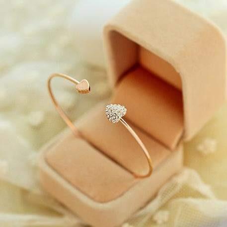 Hot New Fashion Adjustable Crystal Double Heart Bracelet