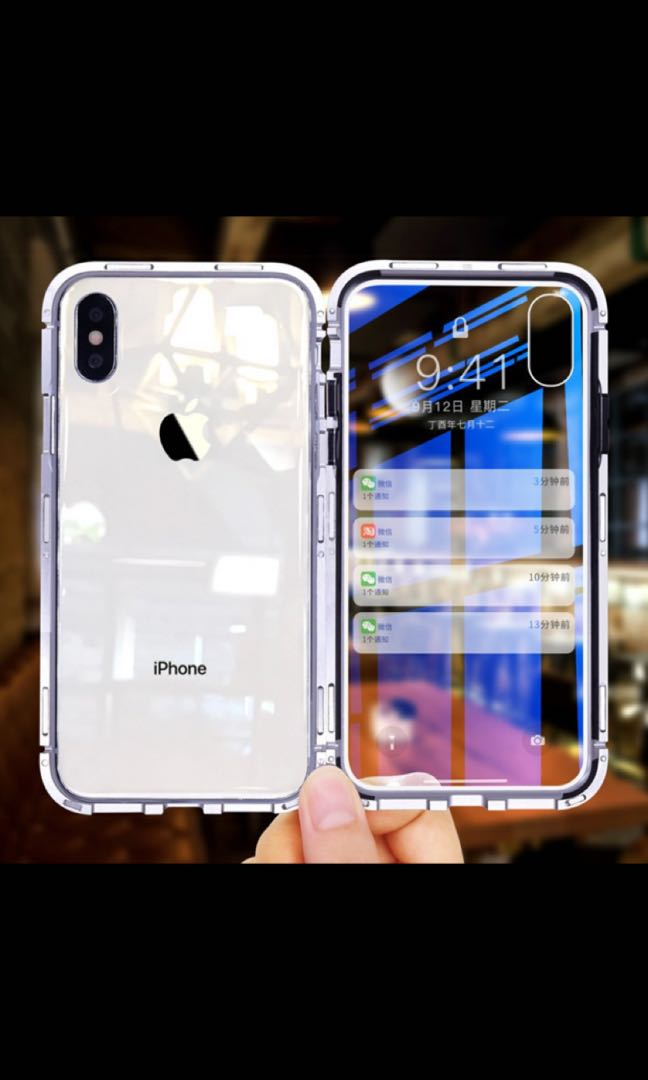 buy online 0b196 f3869 IPHONE XR MAGNETIC PHONE CASE W/ TEMPERED GLASS BACK COVER