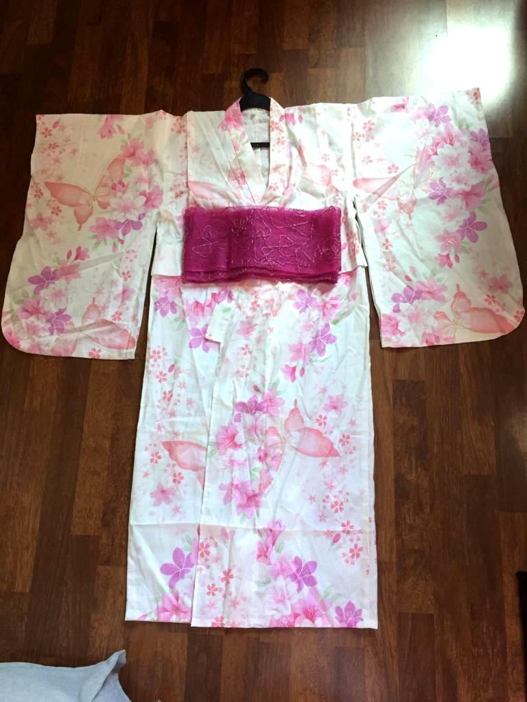 a500f996a Japanese Kimono/Yukata Sakura Print with obi, Women's Fashion ...