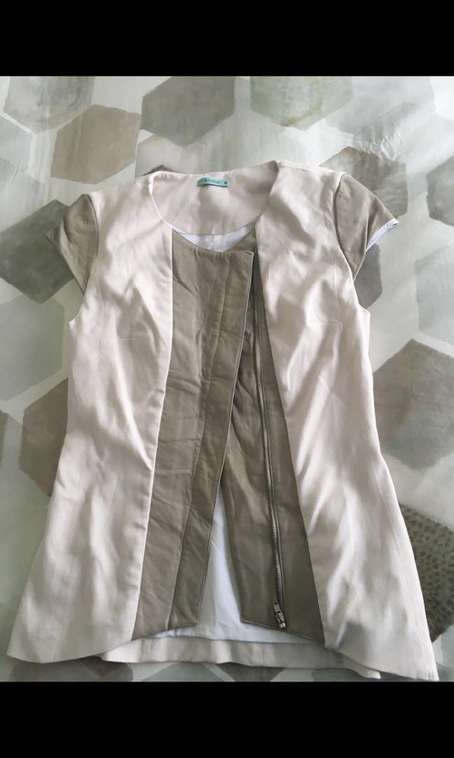 Kookai beige and grey real leather panel cap sleeve vest