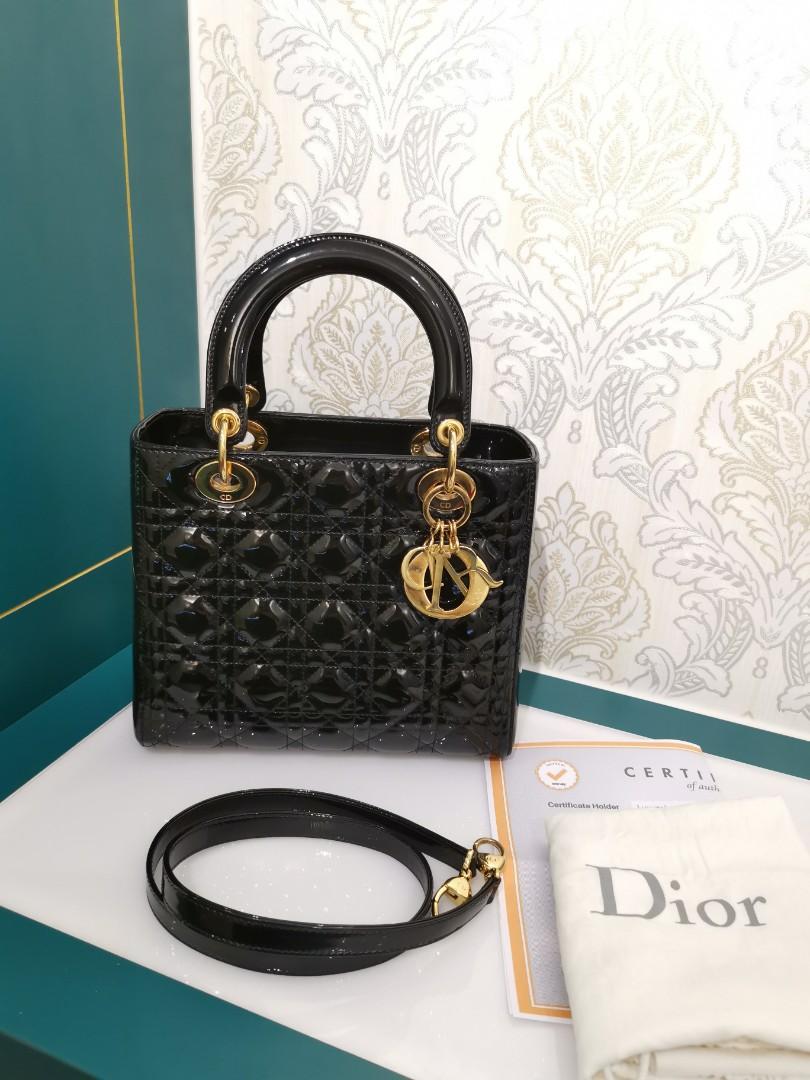 c49a76a54e081 Lady Dior Medium Black Patent with GHW