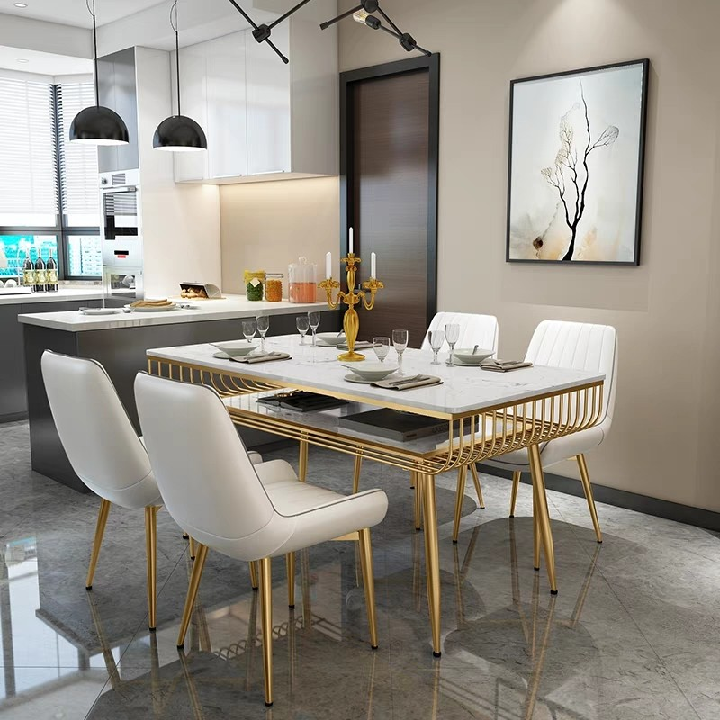 CLAIRE Modern Marble Top Gold Frame Dining Table Furniture Tables Chairs On Carousell