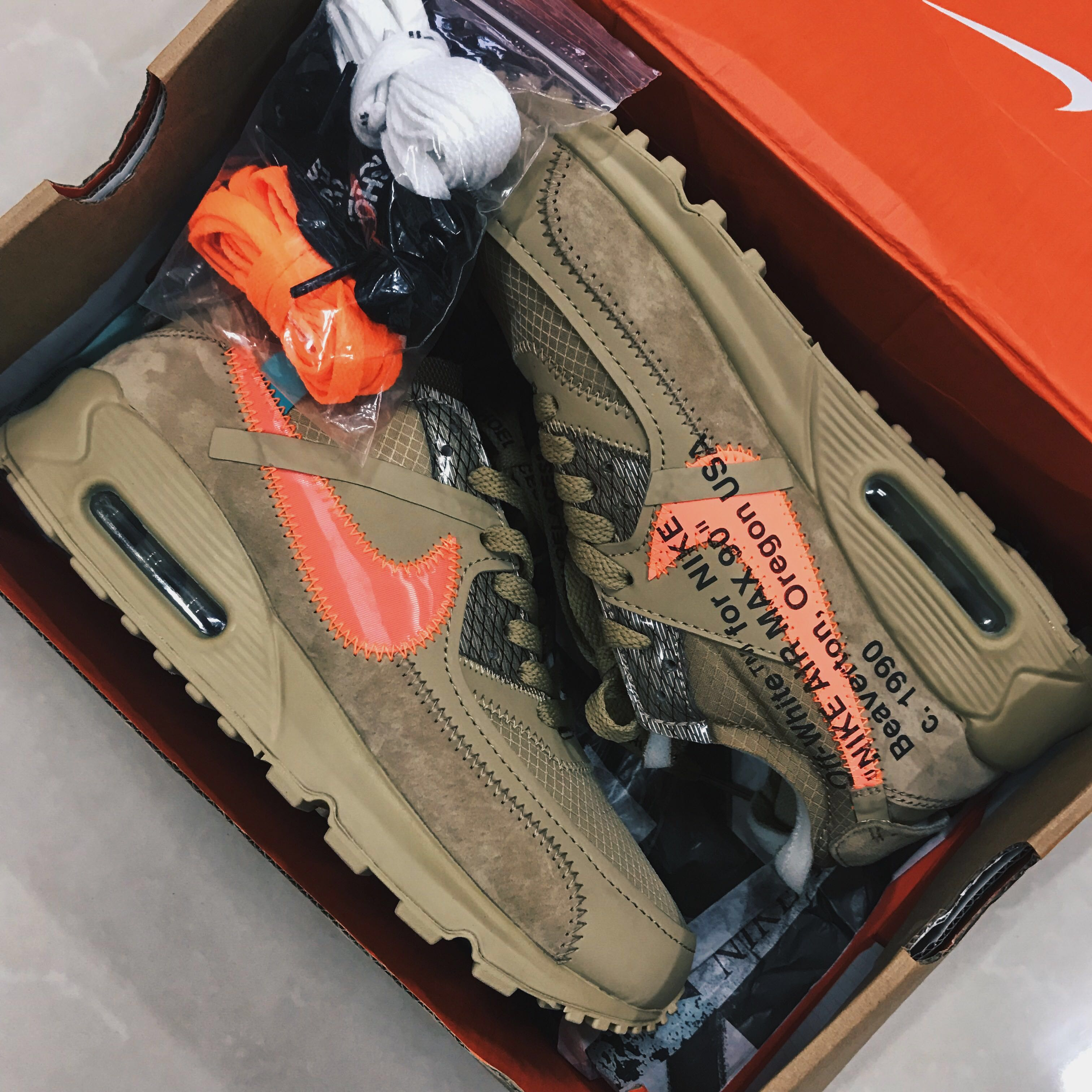 Off White x Nike Air Max 90 Desert Ore