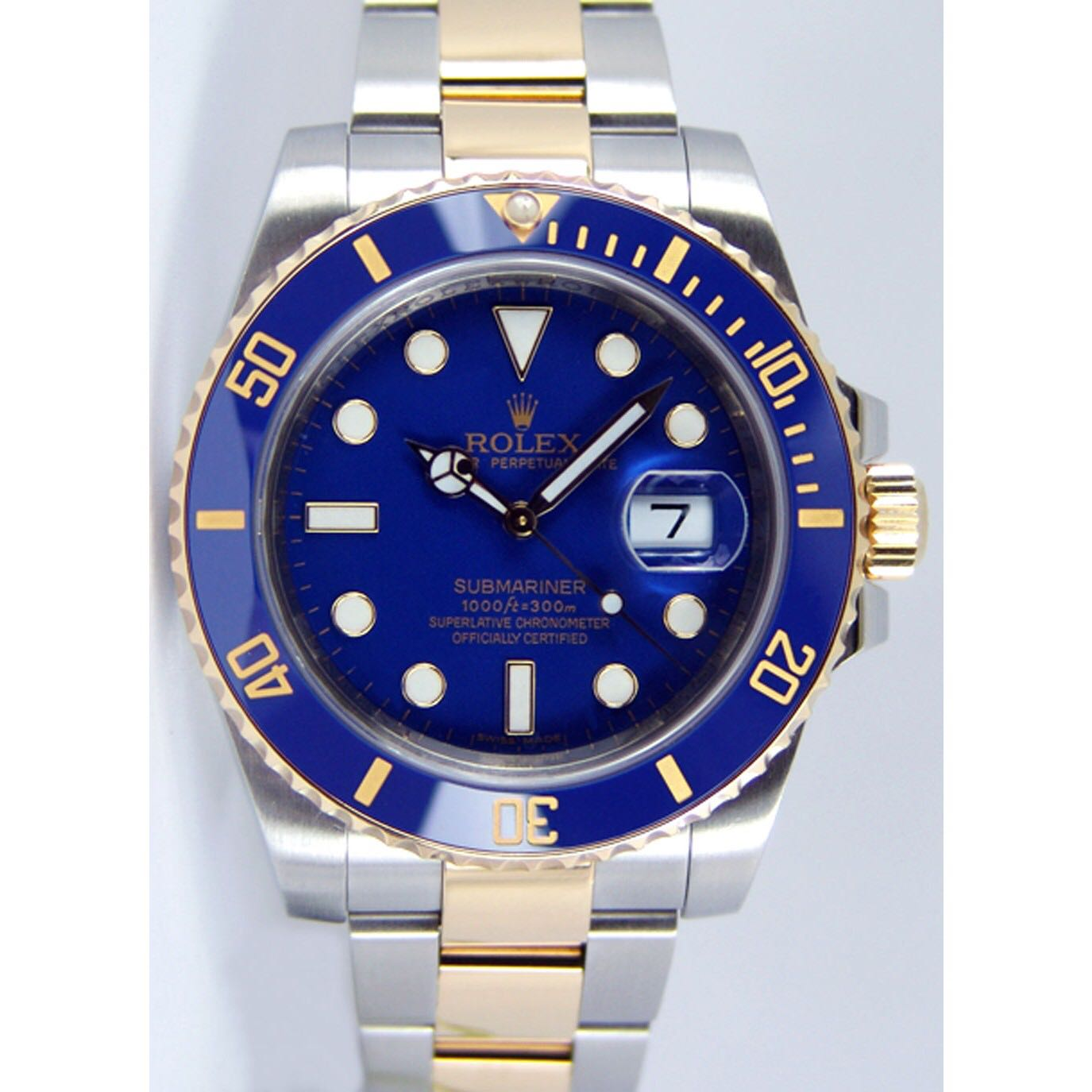 Rolex Submariner Date, Blue Face, Steel and Gold Ref 116613