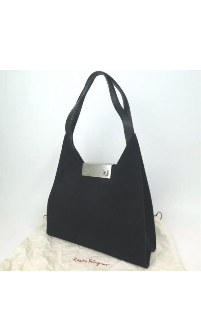 Salvatore Ferragamo Gancini Handbag Suede Leather caed0d1ee67bf