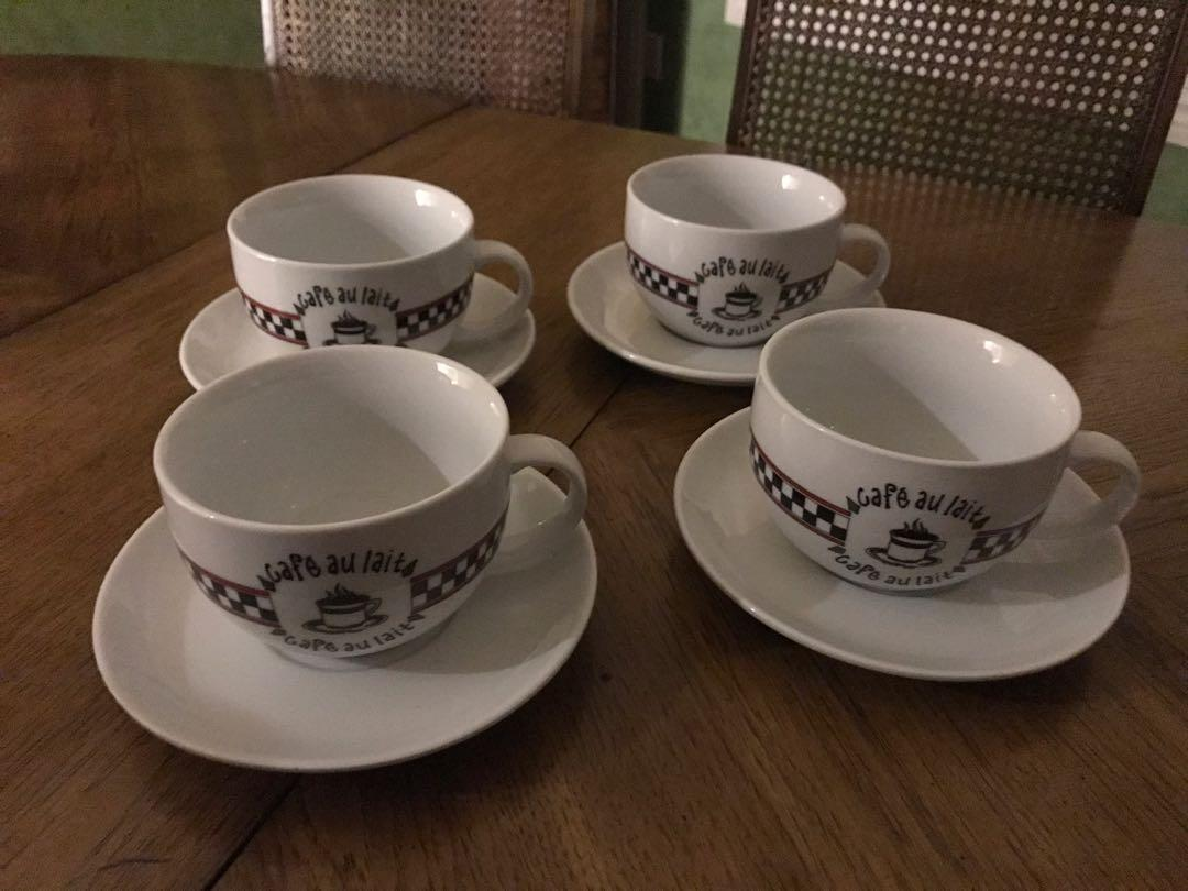 Set of 4 cafe au lait cups and saucers