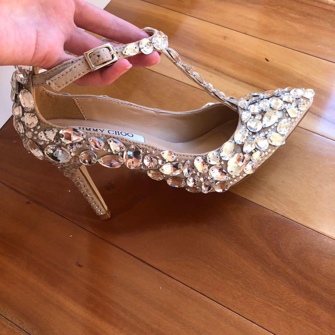 Size 34 - 4.5 Jimmy Choo Silver Crystal Nude Stiletto Heels