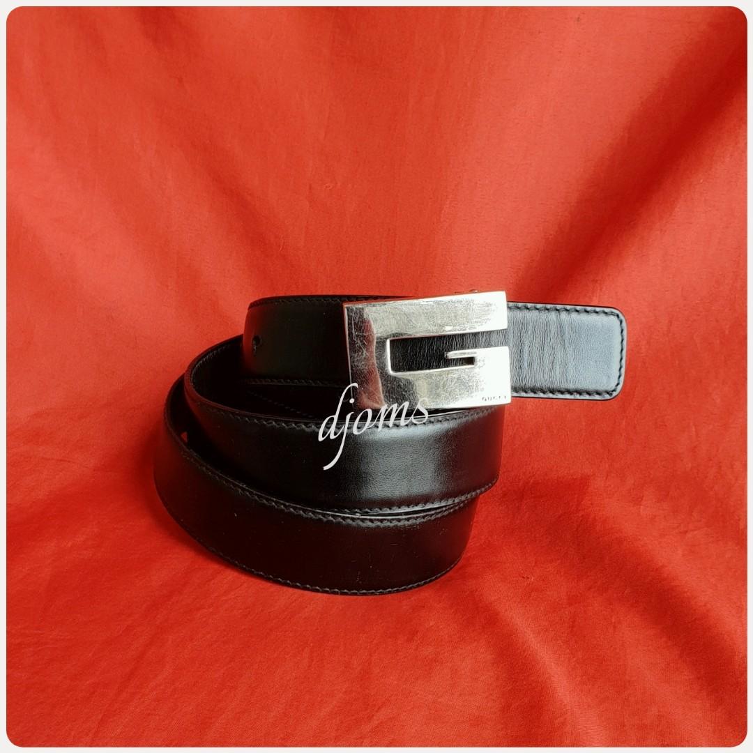 8becf18eb 🛑Sz 28-32 Gucci Mens Logo Silver Buckle Formal Casual Black Leather ...