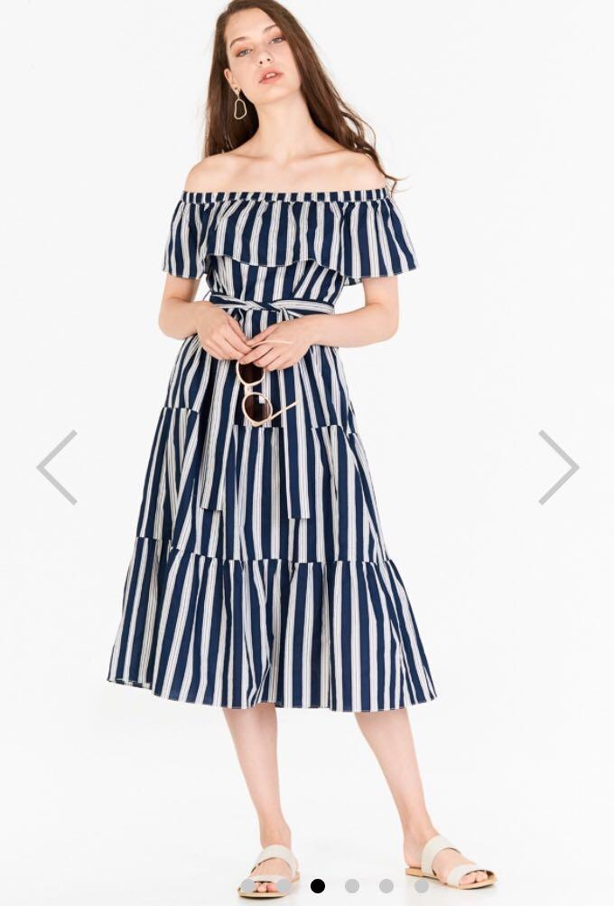 The closet lover - striped off the shoulder midi dress