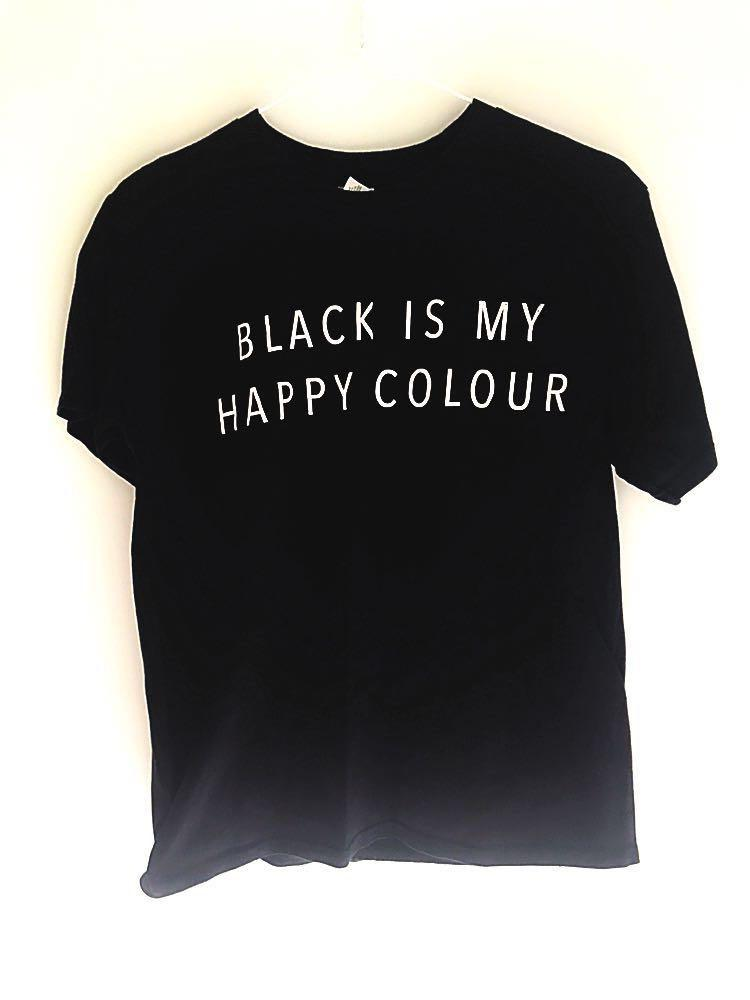 ed4cc54db523a Unisex Tumblr Tee - Black is my happy colour, Women's Fashion ...