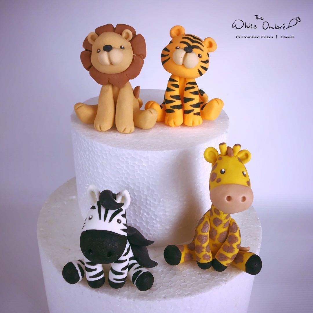 Zoo Safari Cute Animals Handmade Fondant Cake Toppers Food Drinks Baked Goods On Carousell