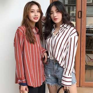 💕 Ulzzang Striped Long Sleeve Shirt