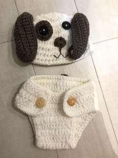 🚚 Crocheted Baby photoshoot outfit (Doggy)