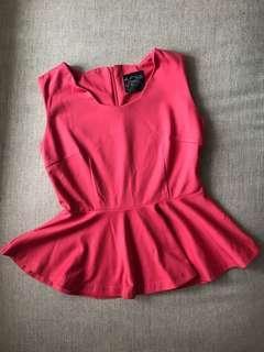 Pink Peplum Top (S size)