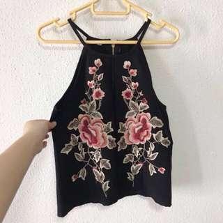 Floral Embroidered Halter Cami