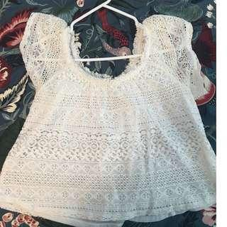 Very lightly used (worn less than 5 times) Off the Shoulder Lace Top- Size M