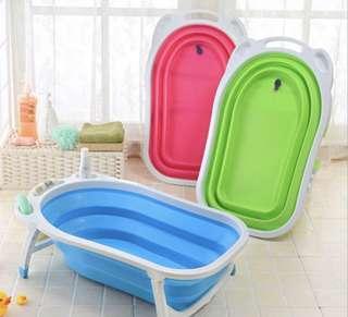 Pink foldable bath tub