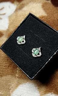 🚚 Fruity Green Myanmar Jade (Jadeite) Cabochon (Type A) on 925 Silver Ear Stud