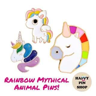 [AVAIL] Rainbow Unicorn, Pegasus Enamel Pins