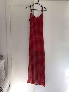 Red Checkered Full Length Dress With Slit