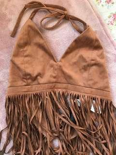 Tan Tassel Crop Top Halter Neck